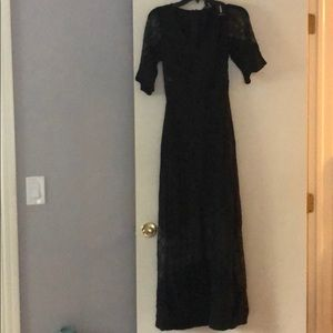 Express long black dress with lace design